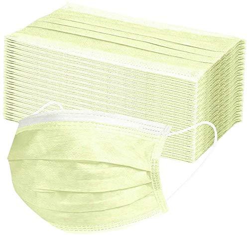ZISIZ 10/30/50 Stück mit Elastischen Ohrhaken, 3-lagigem Gesichts- und Mundhygieneschutzpolster, gelber Mundschutz,Hoher Filter- und Belüftungssicherheit (50)
