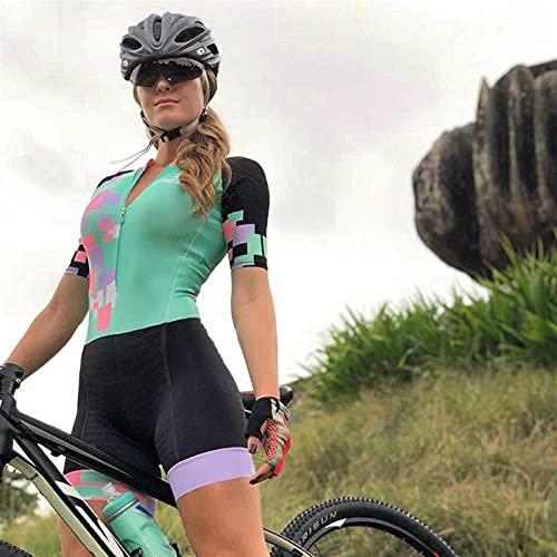 Jersey de ciclismo para mujeres, triatlón de equipo profesional con gel Pad, traje de ciclismo transpirable (Color : CJ157, Size : XX-SMALL)