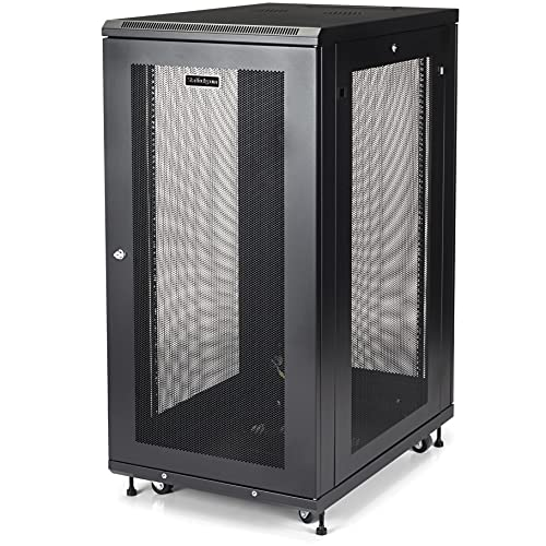 StarTech.com 24U Server Rack Cabinet - 4-Post Adjustable Depth (2' to 30') Network Equipment Rack Enclosure w/Casters/Cable Management/Shelf /Locking Dell PowerEdge HP ProLiant ThinkServer (RK2433BKM)