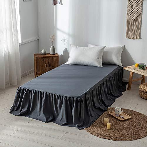 DOMDIL- Spannbettlaken,Bettrock aus gekräuselter Baumwolle - Extra tief, 150 x 200 cm, Dunkelgrau