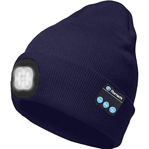 Fullbeing Ocho Bluetooth Beanie, LED Iluminado, Guantes con Pantalla TáCtil USB Recargable InaláMbrico Running Hat LED LáMpara de Luz Uso Gorra De Punto Invierno con MúSica y Llamadas