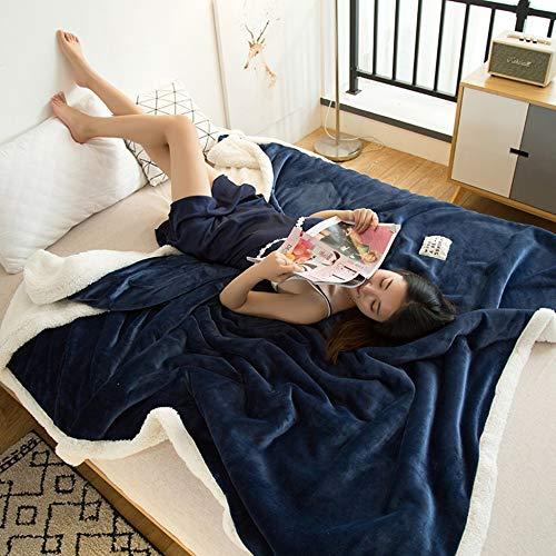 PLIENG Kuscheldecke TV Decke Throws Pure Color Fleece Cashmere Gemütliche Klimaanlage Decke Für Erwachsene Kinder Coral Fleece Siesta Office Decken Sofa Throws Bettwäsche,Blue-200x230cm(79x91in)