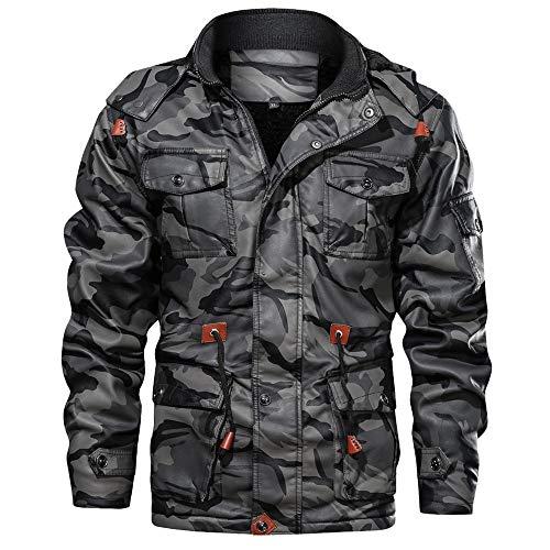 Aiserkly Camouflage Kapuzejacke Winterjacke Herren Vintage Hoodie Kapuzepullover Strickjacke Kapuzejacke Herbst Winter Übergangsjacke Outwear Grau 3XL