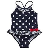 TiaoBug Mädchen Einteiler Badeanzug Marineblau weiß schwarz gepunktet mit Rüschen Schwimmanzug Polka Dots Bademode 92 98 104 110 116 122 Lila 122