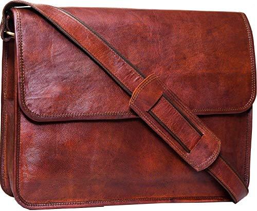 ALASKA EXPORTS - Handmade Laptop Messenger Bag Executive Business Office Work Bag Pure Leather Shoulder Bag Flap-Over Cabin Bag with Shock Proof MacBook Padding for Men Women Boys Girls, Size 15 inch