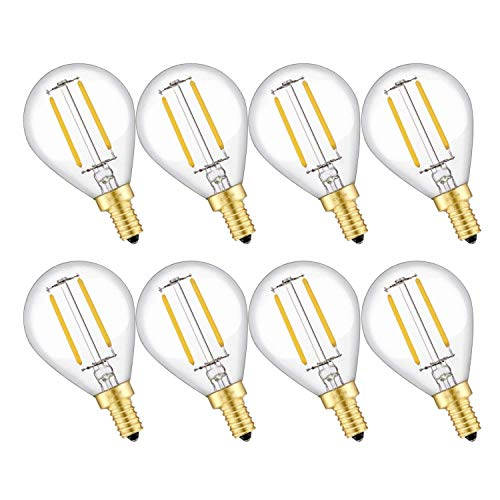 CRLight 2W LED Candelabra Bulb 25W Equivalent Warm White 2700K 250LM, Dimmable E12 Base Vintage Tiny G14(G45) Edison LED Globe Bulb, Chandelier Ceiling Fan Bathroom Vanity Mirror Light Bulbs, 8 Pack