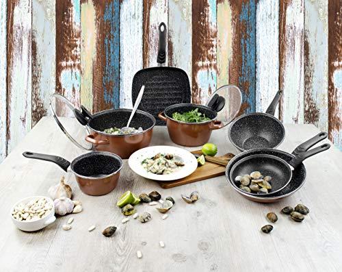 Set 4 cuchillos de cocina SAN IGNACIO Masterpro, acero inoxidable, con tabla de cortar de madera SAN IGNACIO Forest 38x24,5x3,5 cm