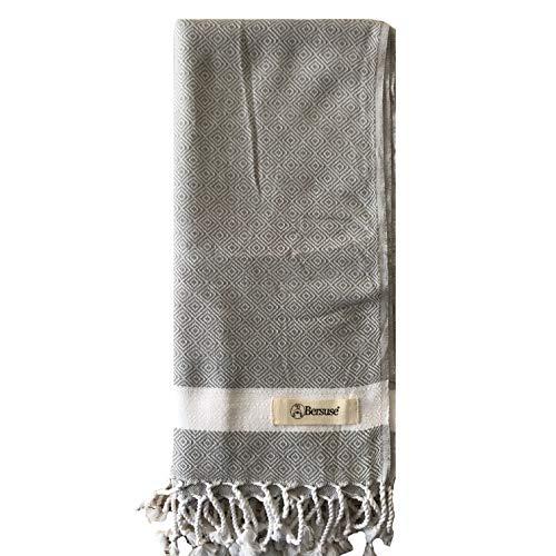 Bersuse 100% Baumwolle - Laodicea Hamamtuch Pestemal - Diamantwebart - 95 x 175 cm, Silber-Grau