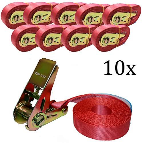 10 x Spanngurt Zurrgurte 4m ( 800 daN, KG) Einteilig 25mm,1 TLG. DIN