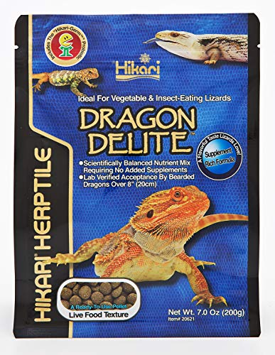 HIKARI Herptile Dragon Delite Reptile Food Complete Diet for Insect & Vegetable Eating Lizardst, Live Feed Replacement for Bearded Dragons over 8'