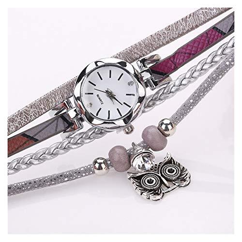 WYHM Reloj para Mujer Moda Mujeres Niñas Pulsera de Reloj de Cuarzo analógico Buho del Vestido de Relojes de señoras de la Pulsera del Reloj Preciso (Color : C)
