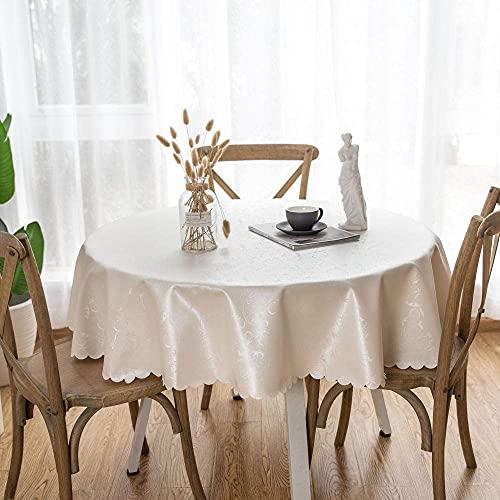 Tovaglia Rotonda PVC Antimacchia Ristorante Impermeabile Tovaglie Fiore Gancio Bianco Crema-180 cm