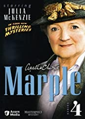 Julia McKenzie (Cranford, Notes on a Scandal) assumes the Marple mantle in four gripping adaptations of Christie mysteries Classic post WWII mysteries Originally seen on Mystery! 4 episodes; approx. 372 minutes on 4 DVDs. Collect the entire set
