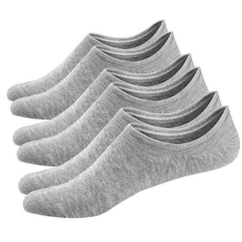 Ueither Calcetines Invisibles Mujer De Algodón Calcetines Cortos Elástco Con Silicona Antideslizante (36-43, Gris (3 Pares))