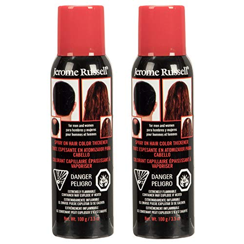 Jerome Russell Spray-on Color Dark Brown Hair Thickener, for Fine and Thinning Hair, Conceals Bald Spots, Grey Hair, Hides Root Re-growth, and Cover Hair Extension Tracks, Works for Men and Women, 3.5 oz - 2 Pack
