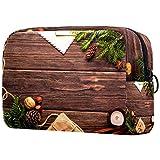 KAMEARI Bolsa de cosméticos Navidad Nochevieja Postal Textura Madera Grande Cosmético Bolsa Organizador Multifuncional Bolsas de Viaje