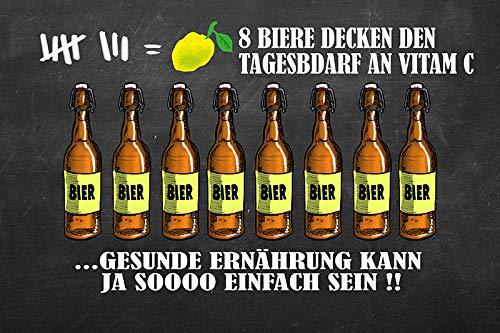 FS Spruch 8 Biere Decken den Tagesbedarf an Vitamin C Blechschild Schild gewölbt Metal Sign 20 x 30 cm