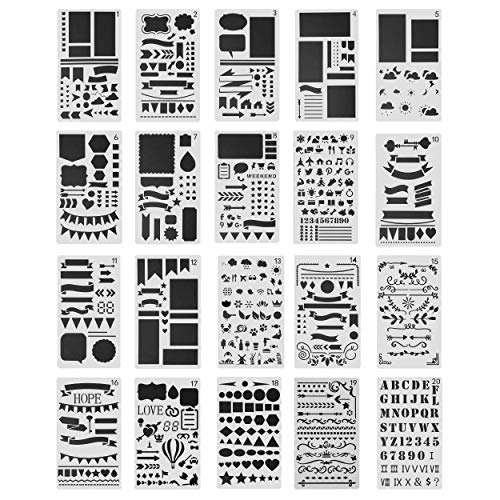 Plantillas de Dibujo Plantillas de Escala kit de Dibujo de Plástico Reutilizable para Scrapbooking DIY álbumes Tarjeta 20 Piezas