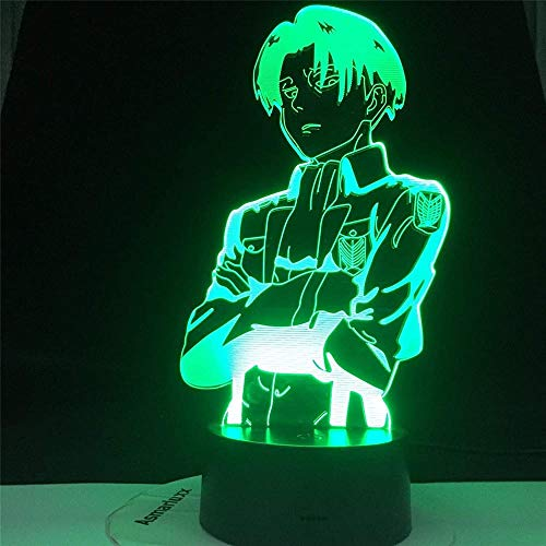 BTEVX 3D Night Lamp for Boys and Girls Attack On Titan Acrylic Table Lamp Anime for Home Room Decor Light Cool Kid Child Gift-16 Color with Remote