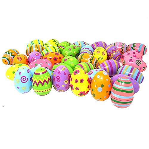 Yisily 24 niños de Las PC Huevos Impresos en Colores Pastel de Pascua de plástico Surtido de Huevos para la Caza del Huevo de Pascua, Fiesta, sorteos, premios Decoraciones de Pascua