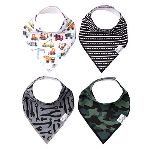 "Baby Bandana Drool Bibs for Drooling and Teething 4 Pack Gift Set ""Diesel"" by Copper Pearl"