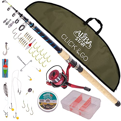 Alba Star Click & Go Fishing Set (ACM006) Fishing Rod 12 Ft. Telescopic and Reel Combo with Carrier Bag and All Necessary Accessories for Fishing. Click & Go Carp Fishing Set- 12 Ft. Telescopic Rod
