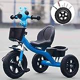 COUYY Niño del Triciclo, Triciclo de Pedales de niños Smart Design 3 Wheeler, niños pequeños a niños Paseo en Triciclo Pedal del Marco de la Bici de Metal Triciclo de 1-6 años,Azul