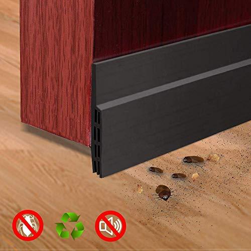 Selbstklebende Tür Türdichtung - YIAHIC Dichtungsstreifen Zugluftstopper gegen Insekt Ersatzdichtung Wetterfest Blocker Schalldichtung Silikon Türstopper 100 * 5cm (Schwarz)