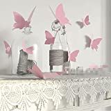 Black Friday Deals Cyber Monday Deals Week-Valentoria 12Pcs Pink 3D Decorative Butterflies Removable Wall Art Sticker For Home Decor Wedding Party Decoration(Pink)