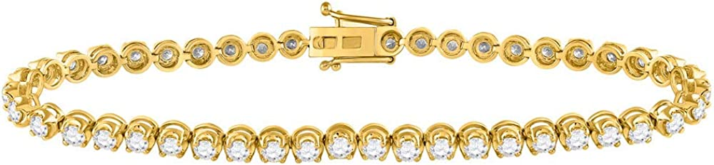 14K A surprise price is realized Yellow Gold Womens Round Diamond C Classic Fort Worth Mall Bracelet 4 Tennis