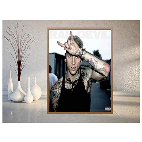 Kingm MGK Rapper Star Album Cover Wall Art Posters Hd Print Photo Canvas Painting Home Living Room Decor Pictures Artwork Gift -50X70Cm Frameless