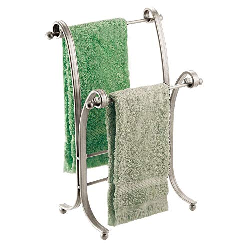 mDesign Decorative Metal Fingertip Towel Holder Stand for Bathroom Vanity Countertops to Display and Store Small Guest Towels or Washcloths, 2 Tiers - 13.6