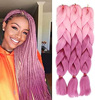 AISI BEAUTY Jumbo Braiding Hair Extensions for Afro American Women 3Pcs Ombre Braids Crochet Heat Resistant Hairpieces Synthetic Ombre Color 24 Inches 100g (Color:Pink/Purple)