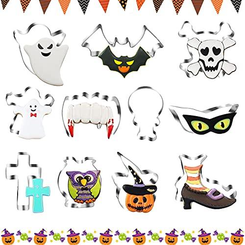 BAMZOK 11 PCS Formine per Biscotti Halloween Stampi Biscotti Acciaio Inossidabile Taglia Biscotti Stampini Bambini DIY per Dolce Biscotti Frutta Torta Festa Halloween
