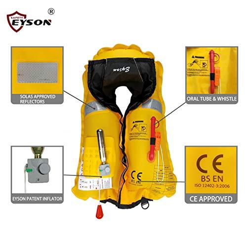 Eyson Slim Inflatable Life Jacket Life Vest PFD Manual for Adults (Black)