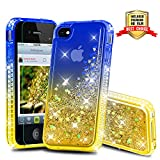 Atump Coque iPhone 4, Coque iPhone 4S avec Protecteur d'écran, Diamant Liquide Paillette Transparente 3D Silicone Gel Antichoc Kawaii Étui Fille Personnalisé pour iPhone 4 / 4S Blue/Yellow