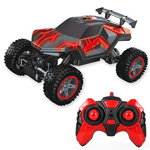 Walmeck 2.4GHz 1/16 RC Rock Crawler LED One Key Spray 4WD RC Car Off-Road Escalada Coche Juguete de Regalo para niños