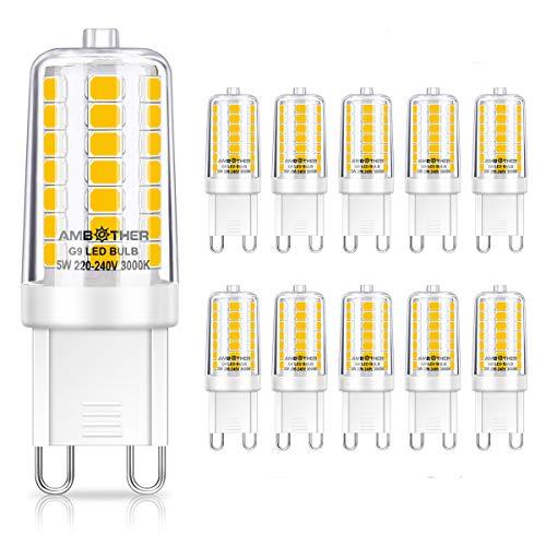 AMBOTHER G9 LED Lampen 5W,500LM Warmweiß 3000K 45x SMD2835 Leuchtmitteln Kein Flackern CRI 85Ra 360°Abstrahlwinkel LED G9 Mini Glühbirnen Mais Kolben Birne statt 40W Halogenlampe AC220V-240V,10er Pack