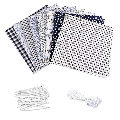 8PCS Cotton Fabric Set, Sewing Fabrics Patchwork Fabric DIY Cotton Material Prints Flower Cloth Quilting Crafts with Nose Bridge Strip Elastic Band (B)