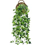 XHXSTORE 2Pcs Fake Trailing Plant Artificial Hanging Vines Plants Plastic Weeping Greenery Drooping Faux Boston Ivy Plants Leaves UV Resistant Garland for Indoor Outdoor Wall Baskets Decoration