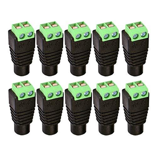 Bonarty Conector Adaptador de Enchufe de Cobre de Fuente de Alimentación de CC Hembra de 10 Uds.