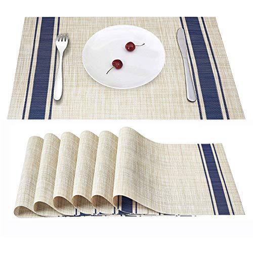 Eageroo 6er Set 30 x 45 cm Platzdeckchen Abwaschbar Tischmatte PVC Abgrifffeste Platzsets Anti-Rutsch Tischset für den Esstisch, Blau