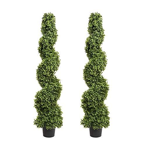 Artificiell spiral buxträ Topiary träd 4 ft/120 cm – bästa kvalitet (set med 2)