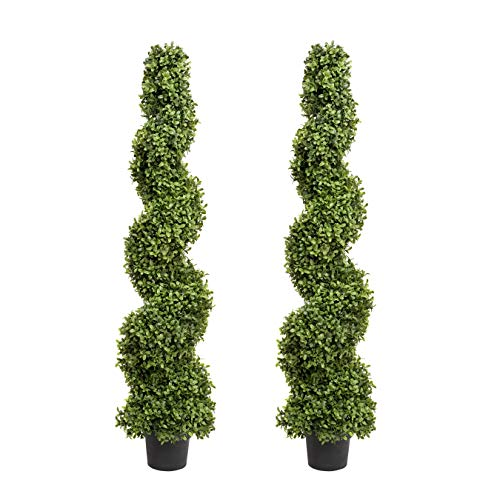 Artificial Spiral Boxwood Topiary Trees 4ft/120cm - BEST Quality (Set of 2), ASBT-0561-04