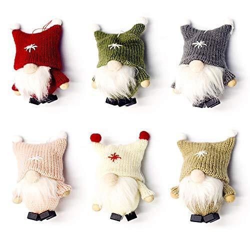 Mimeela 6 Pack Christmas Gnome Ornaments, Scandinavian Santa Tomte Elf Swedish Figurines, Home Decor Christmas Tree Hanging Decoration (6 Colors)