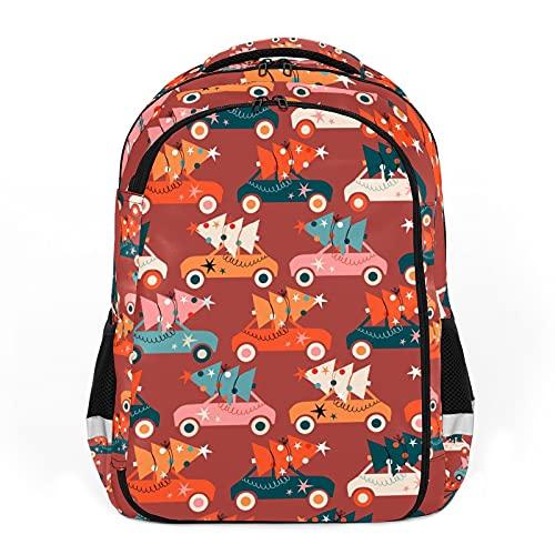 Zaino per bambini Unisex Cartoon Studenti Schoolbag impermeabile Preppy Pack Bag Cartoon Albero di Natale Carrello - Carino Rosso
