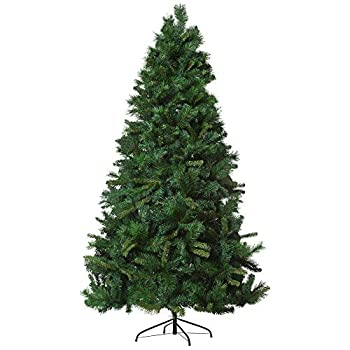 HOMCOM 7ft Artificial Christmas Pine Tree Holiday Home Decoration Automatic Open with Metal Base and 1160 Branch Tips
