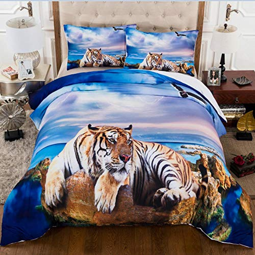 Ropa de cama 3D Impresión de tigre de playa Juego de 3 piezas Juego d