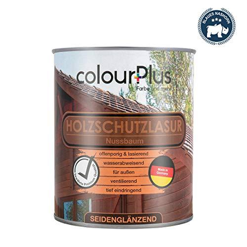 colourPlus® Holzschutzlasur (750ml, Nussbaum) seidenglänzende Holzlasur Außen- Holz Grundierung - Holz Lasur - Holzlasur Aussen - Made in Germany