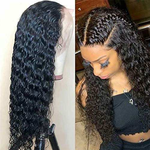 150% Density 360 Lace Frontal Wig Pre Plucked Bleached Knots Curly Brazilian 100% Unprocessed Virgin Human Hair 360 Lace Wigs with Baby Hair(20inch,Free Part)